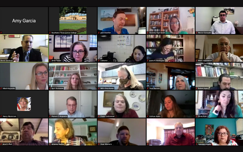 Faculty on a grid layout during virtual Spring Convocation session